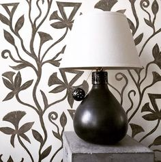 Khovar Collection, Vine Wallpaper by l'aviva home seen at Private Residence, Seattle | Wescover Wall Installation, Decor Design, Lamp, Ceramic Base, Linen Shades, Black Lamps, Home Decor, Linen Wallpaper, Accent Wallpaper