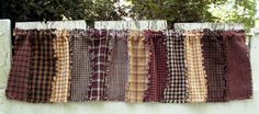 Americana Homespun Primitive Shabby Window Valance
