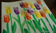Spring Tulip Paintings using forks