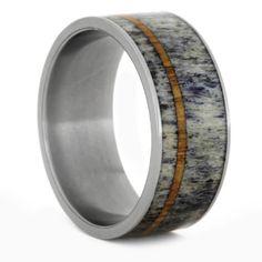 Deer Antler Wedding Band with Oak Wood Pinstripe, Mens Titanium Ring, Size 12-RS9403