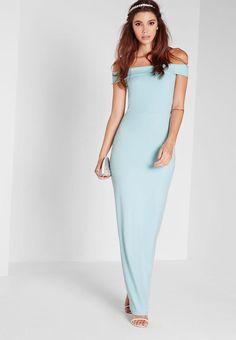 Totally dreamy dresses are what we're here for! Get ready to look heavenly in this powder blue maxi dress. In our fave bardot style, angelic white hue, and a figure-flattering fit, all eyes will be on you - for all the right reasons. Send o. Going Out Dresses, Cute Dresses, Prom Dresses, Formal Dresses, Bardot, Missguided, New Dress, Fashion Dresses, Short Sleeve Dresses