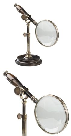 Keep an eye on the finer things in life. This duotone magnifying glass is made with bronzed brass and wood. Heavyweight and vintage-inspired, this stand is an elegant addition to any desk.  Find the Alfred Magnifying Glass, as seen in the The Inventor's Lab Collection at http://dotandbo.com/collections/the-inventors-lab-1?utm_source=pinterest&utm_medium=organic&db_sku=120640