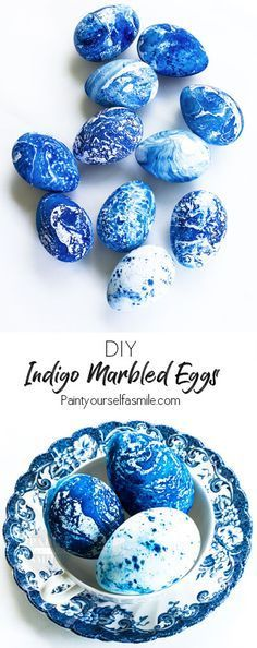 Really Fun DIY Indigo Marbled Eggs! Easy Easter Egg Craft Tutorial Painting Paint