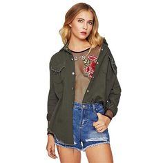 0ded7bea87ac SHEIN Green Frayed Curved Hem Denim Jacket Casual Autumn Women Coat Jean  Jacket 2017 Women Single