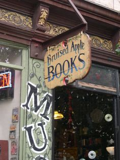 "Karen:  ""Bruised Apple Books and Music"" (Peekskill, NY)   -    It has a huge selection (50,000 titles, according to its website). It's organized, uncramped & infused w/ mood-setting, but not distracting instrumental music. It's the kind of shop where you could spend an afternoon browsing & there's little surprises around every corner, including the postcards, notes  that decorate the endcaps."
