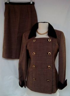 Check out this sexy little military inspired luxe suit by RICKIE FREEMAN for Saks Fifth Ave Sz 4! Wool Skirt Suit Velvet Trim Brown Tweed | eBay