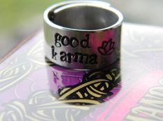 #lindamunequitaArtfire on Artfire                   #ring                     #good #karma/lotus #handstamped #inch #aluminum #ring                         good karma/lotus handstamped 3/8 inch aluminum ring                           http://www.seapai.com/product.aspx?PID=967765