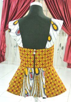 Mixed African Print Peacock Blouse Ankara Tops by Zizibespoke African Print Dresses, African Print Fashion, Africa Fashion, African Fashion Dresses, African Dress, African Outfits, African Blouses, African Tops, African Women