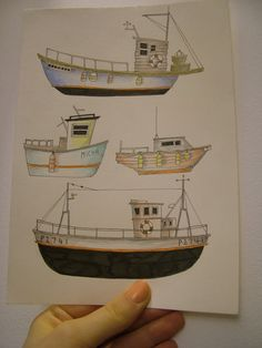 Cornish Fishing boats Study Number Two by #Illustrate It! gemmamortlock on Etsy, £15.00