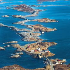 The Atlantic Ocean Road, Norway - photo by TheAtlanticRoad / Per Kvalvik, via Rebrn; This highway – Country Road 64 – is less than miles long and connects many small islands of an archipelago in Norway with the mainland. It opened in Lofoten, Atlantic Road Norway, Atlantic Ocean, Cool Places To Visit, Places To Travel, Norway Roadtrip, Ouvrages D'art, Beautiful Norway, Visit Norway