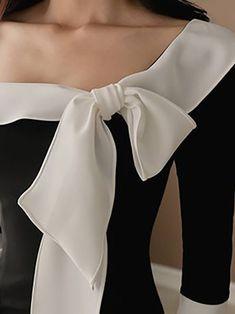 Black Midi Dress Bodycon Daytime Vintage Slit Dress - All About White Fashion, Look Fashion, Outfit Vestido Negro, Black Midi Dress Bodycon, Glamour Moda, Vestidos Retro, Tango Dress, Elegantes Outfit, Dress With Bow