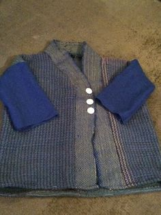 Prototype handwoven jacket made on rigid heddle loom. Now I know it works, I can improve and do in nice yarn too!