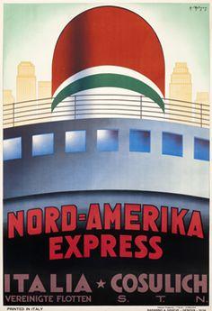 Giovanni Patrone poster: Nord - Amerika Express Italia - Cosulich