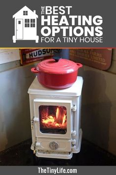 Just imagine snuggling under a blanket watching the fire in this cute wood stove! Don't let your wood stove take up too much room in your tiny house. This adorable wood stove is a great option to heat your tiny house and you can cook on it too! Heat you Best Tiny House, Tiny House Cabin, Tiny House Living, Tiny House Design, Casa Hygge, House Heater, Stove Heater, Propane Stove, Pellet Stove