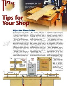Planer Outfeed Table - Planer Tips, Jigs and Fixtures Woodworking Planer, Wood Planer, Woodworking Shop, Woodworking Ideas, Drilling Holes, Woodworking Projects That Sell, Wood Tools, Wood Print, Wood Projects