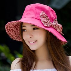 Summer bow bucket hat for women fashion UV packable sun hats