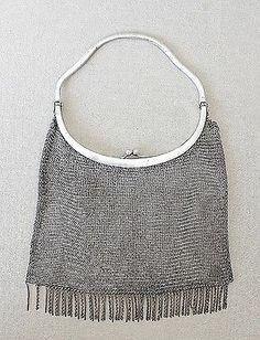 Art Deco Silver Signed, Mesh Evening Bag.