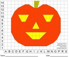 Halloween Jack O Lantern Pumpkin Color Grid