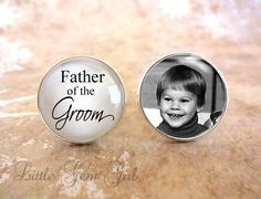 Him to his dad: Father of the Groom Cufflinks - Custom Photo Cufflinks - Silver Plated Gifts for Dad - Wedding Cuff Links Picture Cufflinks