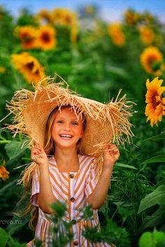 Deviant Art, Young Old, Girls Dresses, Tri, Straw Hats, Kids, Children, Fine Art, Sunflowers