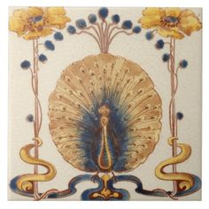 Art Nouveau Vintage Peacock Design Feature Tile