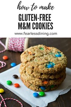 How to make giant sized monster gluten free M&M cookies. These make the best ice cream sandwiches! Full of delicious M&Ms. fearlessdining Best Gluten Free Desserts, Gluten Free Cookie Recipes, Gluten Free Cupcakes, No Bake Desserts, Easy Desserts, Dessert Recipes, Dinner Recipes, M M Cookies, Healty Dinner