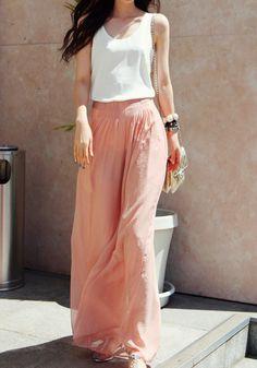 Chiffon Wide Maxi Pants - Baby Pink