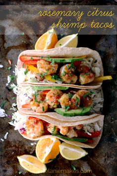 The Best of Tacos: Rosemary Citrus Shrimp Tacos, plus nine other taco recipes. Fish Recipes, Seafood Recipes, Mexican Food Recipes, Cooking Recipes, Healthy Recipes, Healthy Meals, Citrus Recipes, Healthy Food, I Love Food