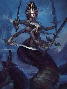 Naga Queen – fantasy concept /fan art by Valeria Styajkina Dark Fantasy Art, Sci Fi Fantasy, Fantasy Girl, Fantasy Artwork, Fantasy Queen, Fantasy Inspiration, Character Inspiration, Character Art, Fantasy Races