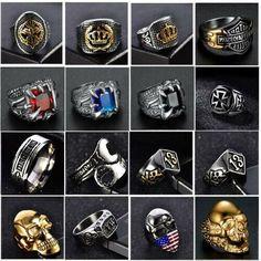 Titanium Steel Biker Ring Chain Linked Retro Vintage Sports Punk Gift Size 7-13