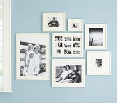 Love the black and white pictures in the white frames and mats - great idea for our newborn pictures with Sam for our living room