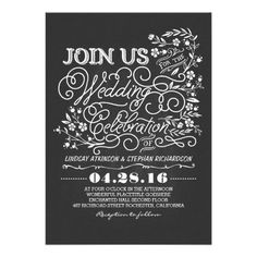 Elegant and cute chalkboard wedding invitation with hand drawn flowers and casual bold swirly typography design. Perfect invite for vintage yet modern wedding theme.