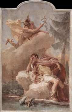 Exposition ArtMercury Appearing to Aeneas - Giovanni Battista Tiepolo - Mythological Painting Art
