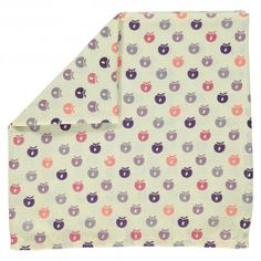 Cloth, white with mini apples in purple pink, Smafolk