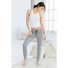 Out From Under Edie Slim Jogger Pant ($59) ❤ liked on Polyvore featuring activewear, activewear pants and grey