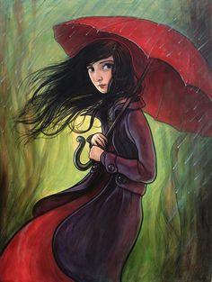 Red umbrella and horseshoe - Kelly Vivanco