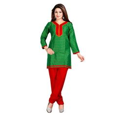 Green and Red Color Embelleshes Cotton Kurtis    green kurtis, green color kurtis, green colour kurti design, green kurtis online, green colour kurtis