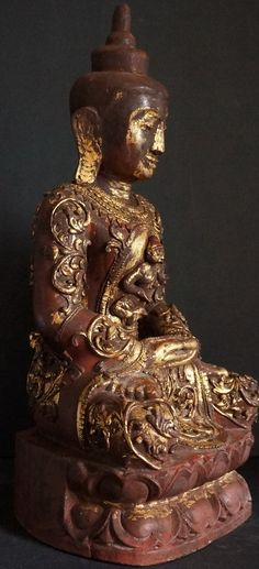 Side-view-of-Burmese-buddha-Statue-thayo-lacquer-decoration-810.jpg (420×921)