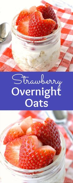 Strawberry Overnight Oats recipe … a quick and easy breakfast! Learn how to make healthy Strawberry Overnight Oats in mason jars. It's simple! This refrigerator oatmeal with strawberries, milk, maple syrup, and yogurt is easy to make and delicious. Strawberry Overnight Oats, Overnight Oats In A Jar, Oatmeal In A Jar, Mason Jar Oatmeal, Overnight Breakfast, Eat Breakfast, Breakfast Recipes, Breakfast Ideas, Breakfast Casserole