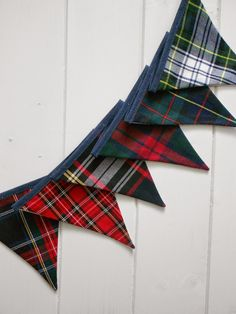 Handmade Tartan Bunting metre length - great for Christmas & Hogmanay Tartan Christmas, Christmas Time, Christmas Crafts, Christmas Decorations, Christmas Goodies, Tartan Decor, Tartan Plaid, Tartan Crafts, Scottish Plaid