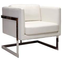 Worlds Away Macallan White Leather Chair @Zinc_Door