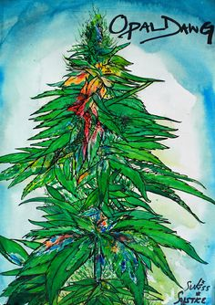 "Poster Art Watercolor Painting ""Opal Dawg"" Print Art Hippie Art Cannabis Art Fantasy Art Zen Art Opal Surrealism Painting Medicinal Art 420  #eco-consciousdesign #wirewrapped"