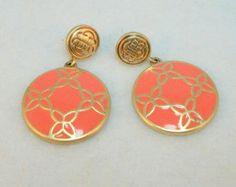 Brush Silver and Peach Enamel Earrings - Vintage 80s Pierced Dangle