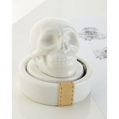 The Arcadian Skull Stamp ($28) ❤ liked on Polyvore featuring home, home decor, office accessories, white and imm living