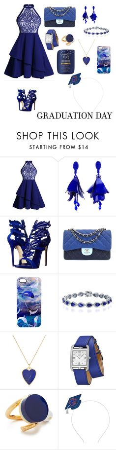 """""""a simple outfit can explain your happiness in your graduation day💙"""" by hanaaraushani ❤ liked on Polyvore featuring Oscar de la Renta, Giuseppe Zanotti, Chanel, Nikki Strange, Jennifer Meyer Jewelry, Hermès and Marni"""