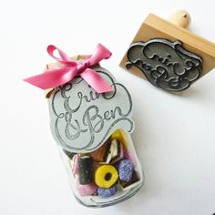 Custom Stamp Intertwining Names by BerinMade on Etsy, £50.00 ($82.64 USD)