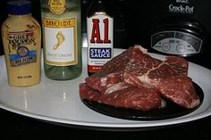 STEAK IN A CROCK POT  I might try this, don't know about the flavor.  I would like to do this with T-Bone Steak, then I could eat the meat off the bone!!!