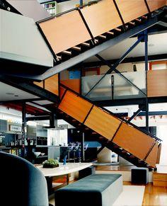 Fun stairs // Schuyler Samperton Interior Design - Santa Monica Canyon Residence