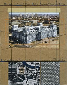 """Christo Wrapped Reichstag (Project for Berlin) Collage 1994 14 x 11"""" (35.5 x 28 cm) Pencil, enamel paint, wax crayon, photographic postcard by R. Koehler, charcoal, ball-point pen, fabric sample, aerial photograph and tape on brown board"""