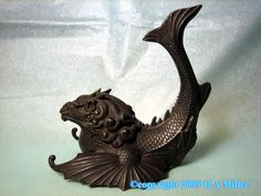 Pewter Dragon Fish Monster Inkwell Ink Well 19th Century